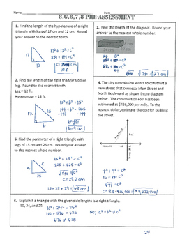 8.G.6,7,8 Common Core Pre-Assessment/Test