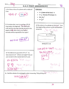 8.G.9 Common Core Post-Assessment/Test