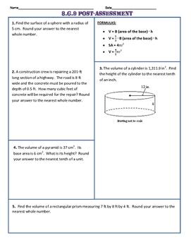 8.G.9 Common Core Post-Assessment/Test