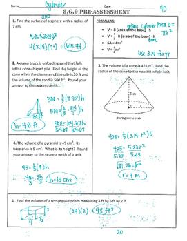 8.G.9 Common-Core Pre-Assessment/Test