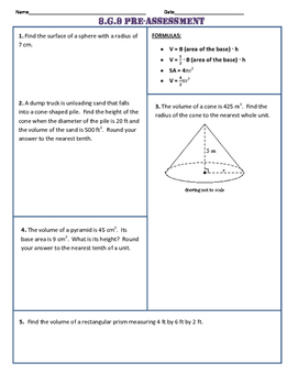 8.G.9 Common Core Pre and Post Assessment/Test