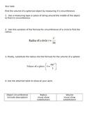 8.G.9 Volume of Spheres Activity