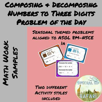 8M NSCE 1a Composing And Decomposing 3 Digit Numbers Problem Of The Day BUNDLE