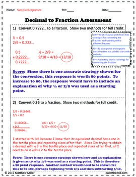 8.NS.1 Converting Repeating Decimals to Fractions: Performance Assessment