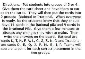 8.NS.1 Rational and Irrational Numbers, A Group Sorting Game