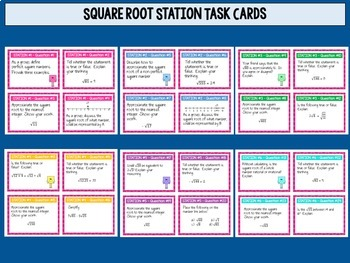 Square Root Bundle - Task Cards, Worksheets and an Assessment