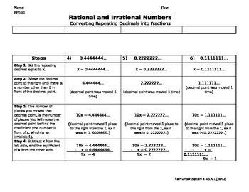 8.NS.A.1 (Part 3) Rational Numbers -Converting Repeating Decimals into Fractions