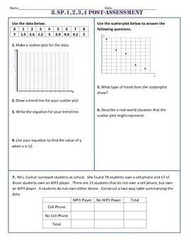 8.SP.1,2,3,4 Common Core Post-Assessment/Test