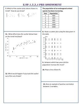 8.SP.1,2,3,4 Common Core Pre-Assessment/Test