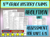 """8TH GRADE AMERICAN HISTORY EXAM """"ABOLITION"""" 30 questions with answers (6/8)"""