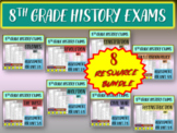 8TH GRADE AMERICAN HISTORY EXAM BUNDLE - 30 questions w answers (ALL 8 INCLUDED)