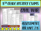 """8TH GRADE AMERICAN HISTORY EXAM """"CIVIL WAR"""" 30 questions with answers (7/8)"""