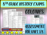 """8TH GRADE AMERICAN HISTORY EXAM """"COLONIES"""" 30 questions with answers (1/8)"""