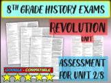 """8TH GRADE AMERICAN HISTORY EXAM """"REVOLUTION"""" 30 questions with answers (2/8)"""