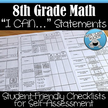 8TH GRADE MATH I CAN STATEMENTS CHECKLISTS FOR SELF-ASSESSMENT