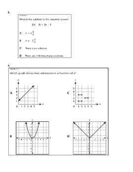 8TH GRADE: Math Common Core Assessment Practice Test- Multiple Choice