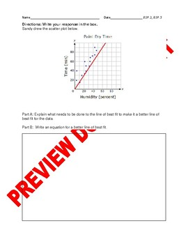 8TH Grade CCSS Best-Fit Linear Models Editable Assessment Bank 8.SP.2, 8.SP.3