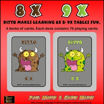 8X and 9X tables fun with Ditto