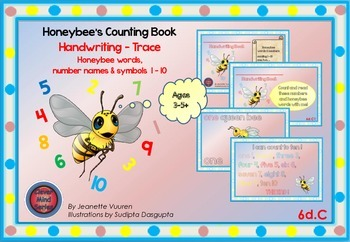 HANDWRITING CARDS: HONEYBEE WORDS & PICTURES & NUMBER 1 - 10 - COLORED BGR - 6dC