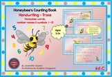 HANDWRITING CARDS: HONEY BEE WORDS & PICTURES & NUMBER 1 - 10, COLORED BGR - 6dC