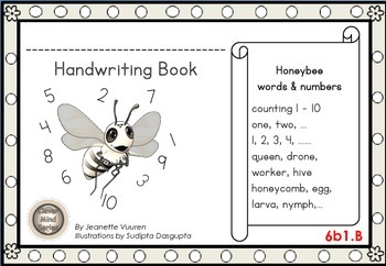 HANDWRITING CARDS:HONEYBEE WORDS & PICTURES & NUMBER 1 - 10 - 6b1B