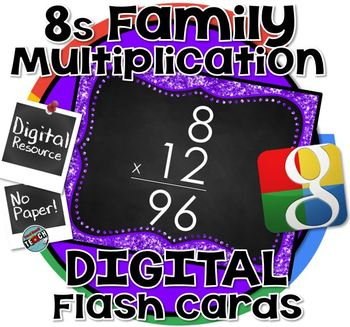 8s Facts - DIGITAL (Google) Multiplication Flash Cards -8's Family