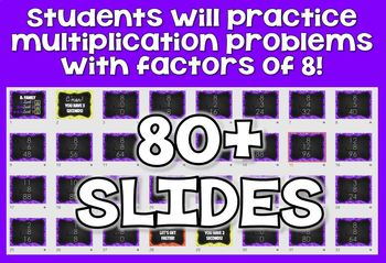 8s Facts - DIGITAL (PowerPoint) Multiplication Flash Cards -8's Family