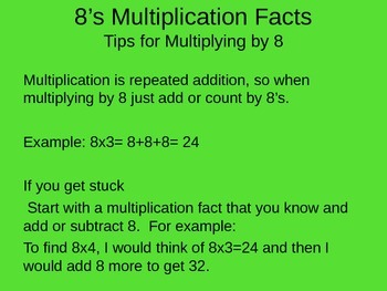 8's Multiplication Facts PowerPoint with Graphic Organizer and Tips