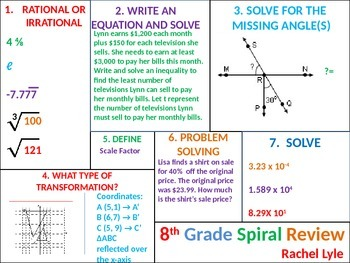 8th (7th) grade Common Core Math Spiral Review Set 2