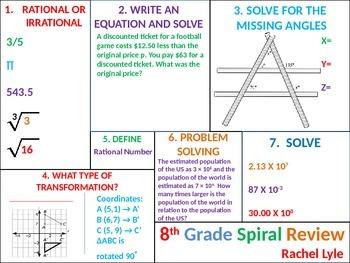 8th (7th) grade Common Core Math Spiral Review Set 2
