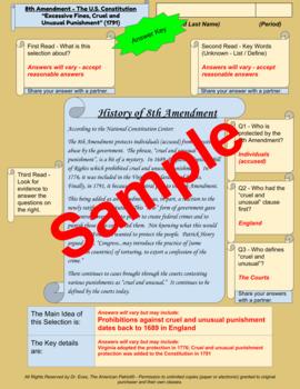 "8th Amendment - ""Cruel and Unusual Punishment"" - Enhanced DBQ - Close Read (PDF)"
