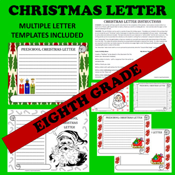 8th Eighth Grade Christmas Holiday Letter Writing Activities