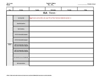 8th Eighth Grade Weekly Lesson Plan Template w Florida Standards Drop Down Lists