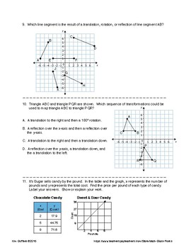 8th Grade Math Common Core Practice Test For Standardized Testing