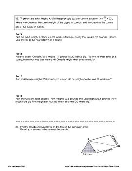 8th GRADE MATH:  COMMON CORE PRACTICE TEST FOR STANDARDIZED TESTING (PARCC)