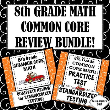8th Grade Math Complete Common Core Review Practice Test Bundle