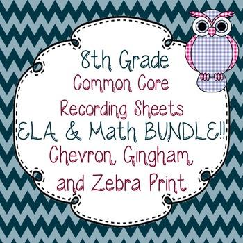 8th Gr. Common Core Tracking Sheets Math & ELA Bundle-Chev