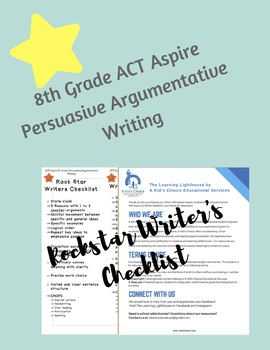ACT Aspire 8th Grade Persuasive Argumentative Rock Star Writer's Checklist