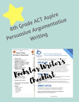 ACT Aspire 8th Grade Persuasive Argumentative Rock Star Writer's Checklist