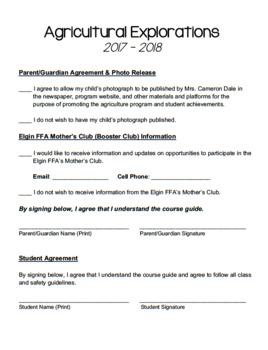Ag Class Syllabus - 8th Grade