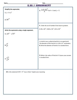 8th Grade All Common Core Standard Assessments/Tests