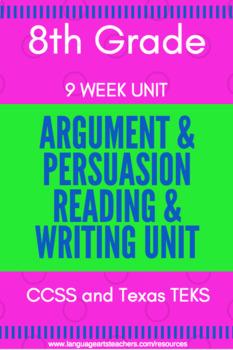 8th Grade Argument/Persuasion Unit---9 Weeks