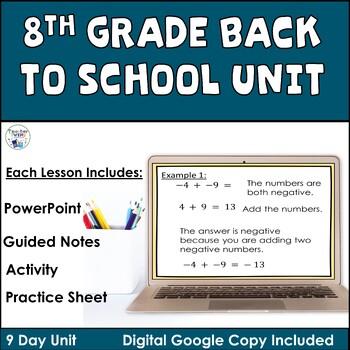 Back to School Math Unit 8th Grade