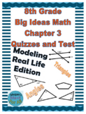 8th Grade Big Ideas Math Chapter 3 Quizzes and Test-Common Core-MRL-Editable