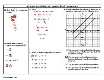 8th Grade Board Math #1 - Standardized Test Practice