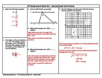 8th Grade Board Math #11 - Standardized Test Practice