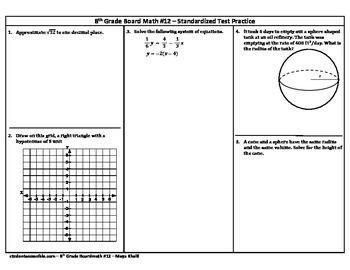 8th Grade Board Math #12 - Standardized Test Practice