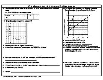 8th Grade Board Math #13 - Standardized Test Practice