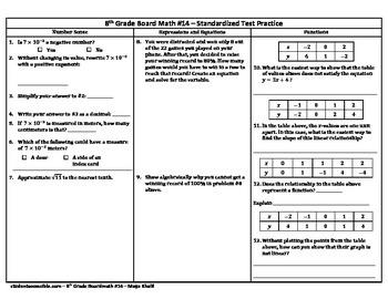 8th Grade Board Math #14 - Standardized Test Practice