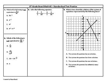 8th Grade Board Math #2 - Standardized Test Practice
